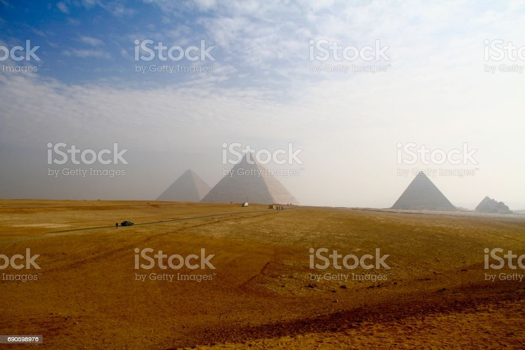 The Giza Pyramids from a distance stock photo