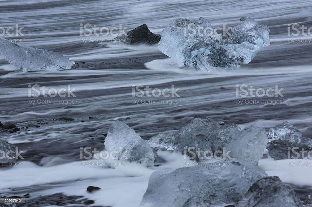 The glacier washed  the sea stock photo