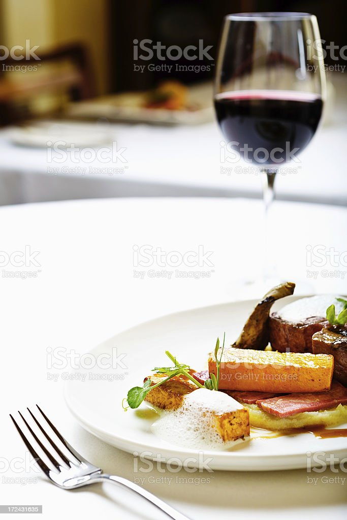 The glamorous version of meat and potatoes! Elegant restaurant entree. stock photo