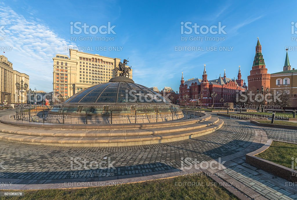 The glass dome at the Manege square in Moscow/ stock photo