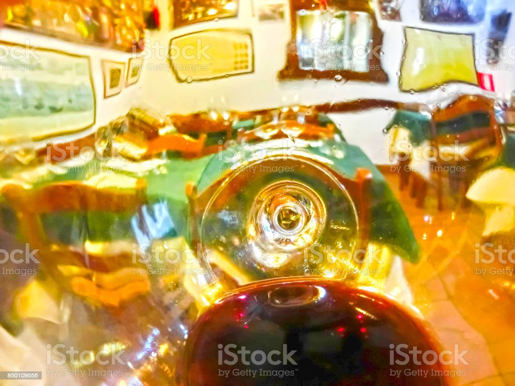 The glass of wine, a restaurant serving a blurred background stock photo