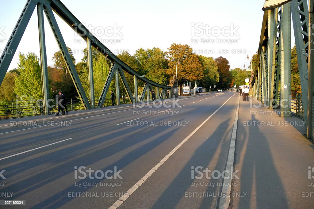 The Glienicke Bridge across the Havel River in Germany stock photo
