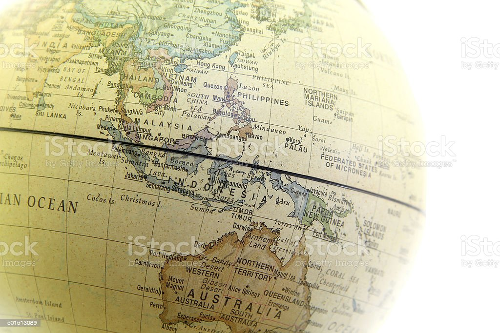 The globe close up, Asia past stock photo