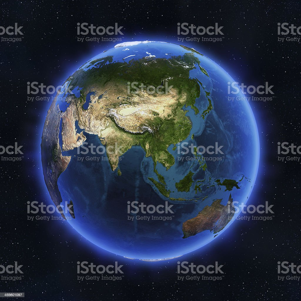 The globe of earth showing Asia stock photo