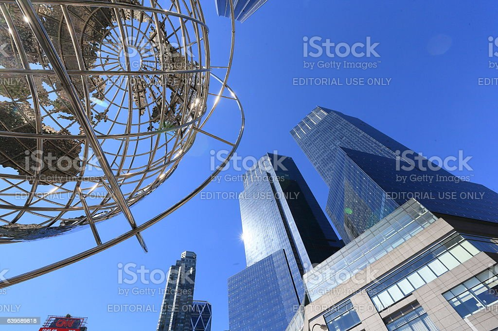 The Globe sphere and twin tower at Columbus Circle. stock photo