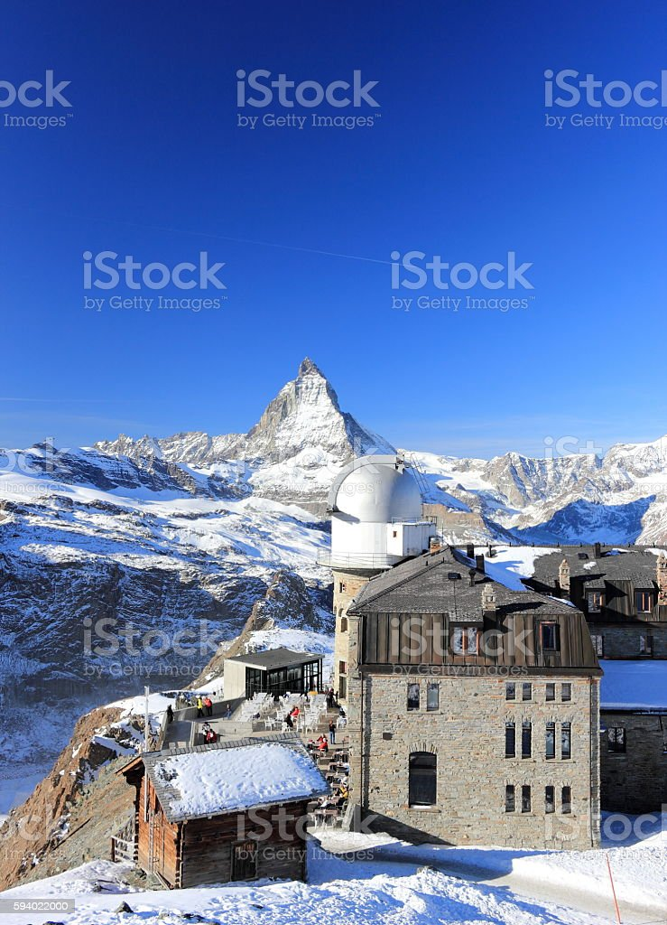 The glorious view of the Matterhorn from Gornergrat. Alps, Switzerland. stock photo
