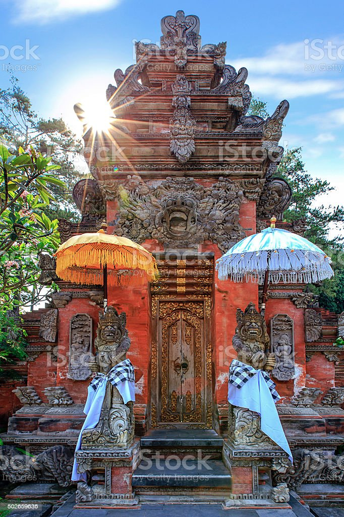 The God guard at holy spring temple, Bali, Indonesia stock photo