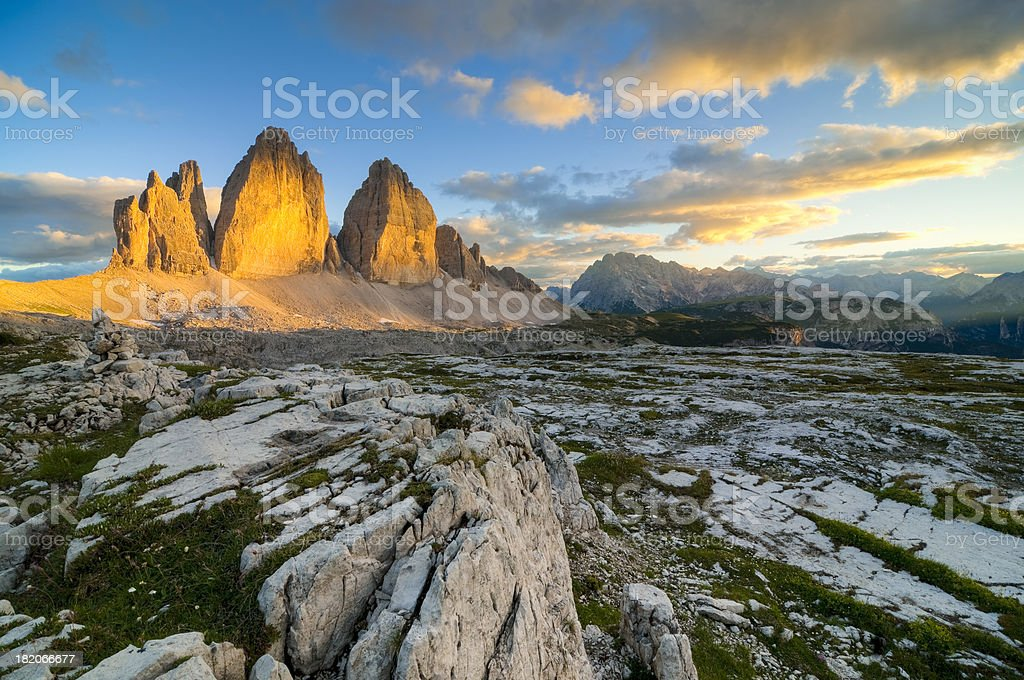 The gold of Dolomites stock photo