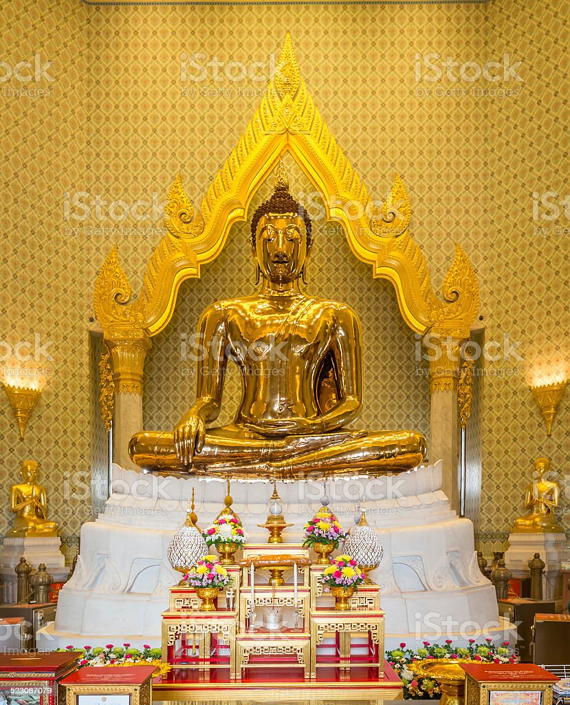 The Golden Buddha at Traimit Temple stock photo