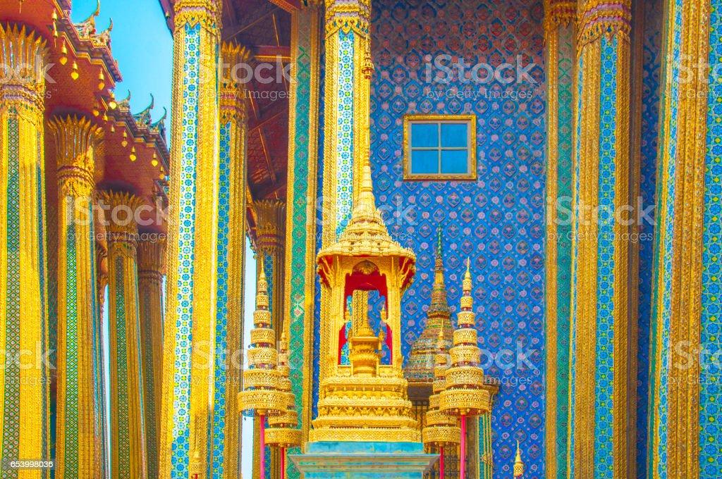 The Golden Crown and Throne at Wat Phra Kaew, Grand Palace, Bangkok, Thailand. stock photo