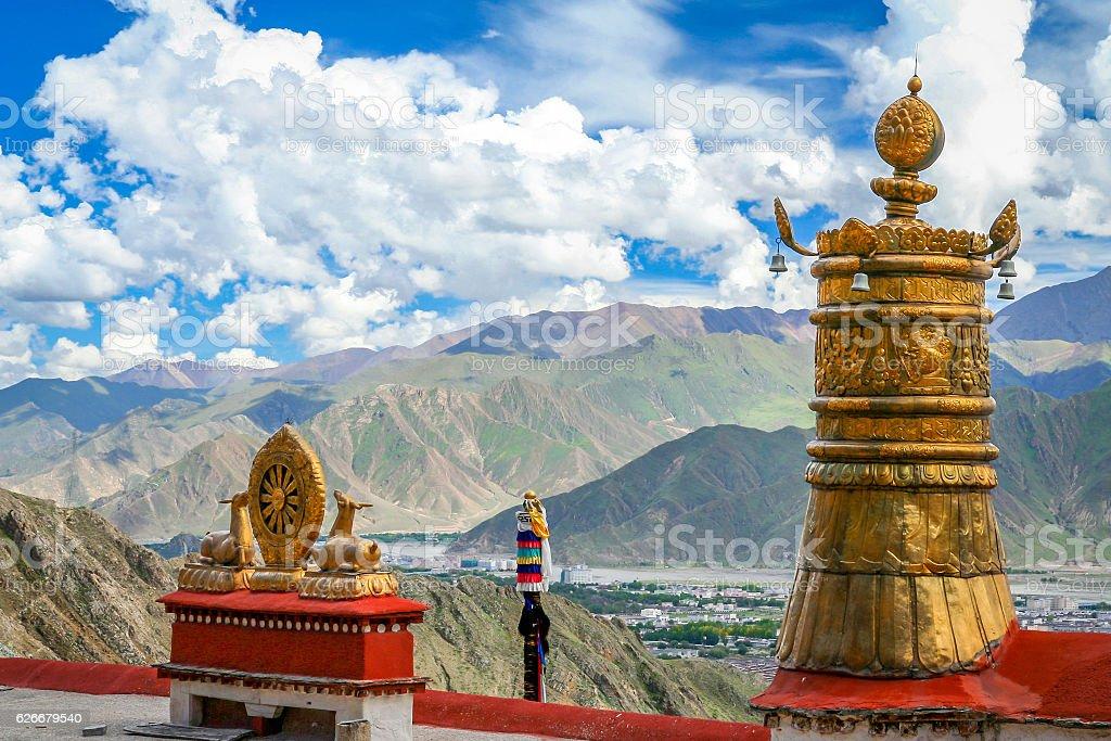 The golden deer and the dharma wheel in tibetan monastery stock photo