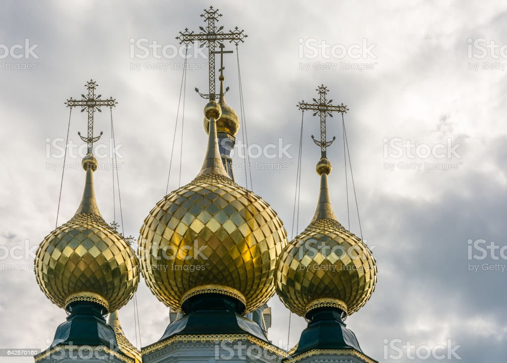 The Golden domes of the Church ensemble in Plyos, Ivanovo region. stock photo