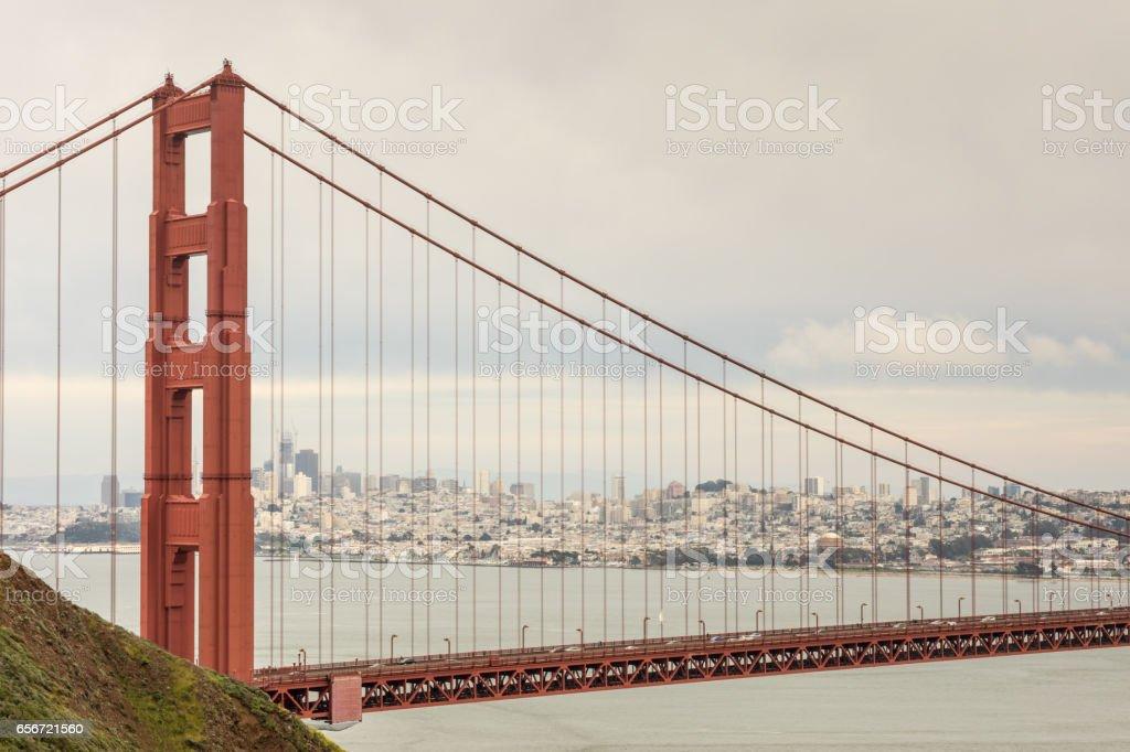 The Golden Gate Bridge and San Francisco Skyline stock photo