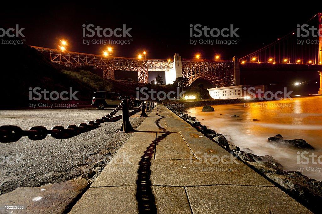 The Golden Gate Bridge at Night royalty-free stock photo