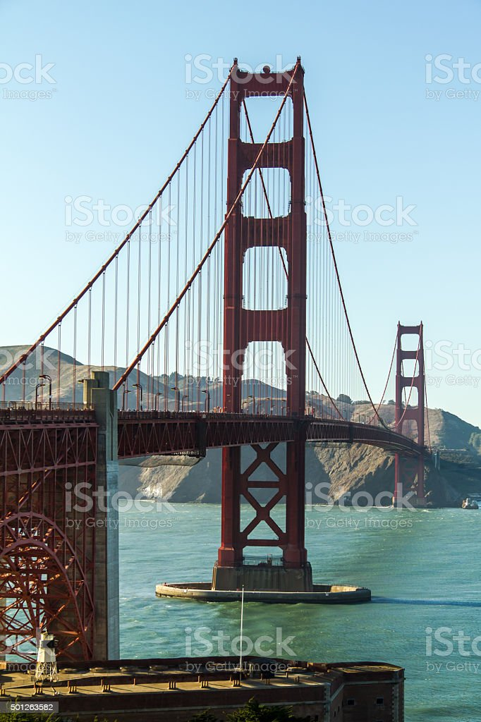 The Golden Gate Bridge at sunny weather stock photo