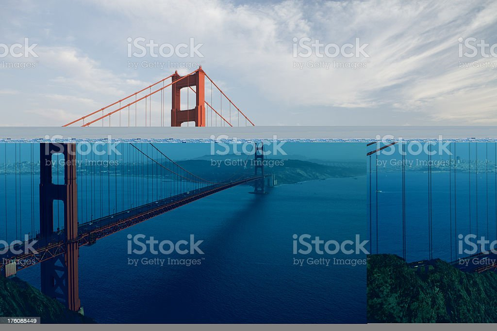 The Golden Gate Bridge during sunset on a hazy day stock photo