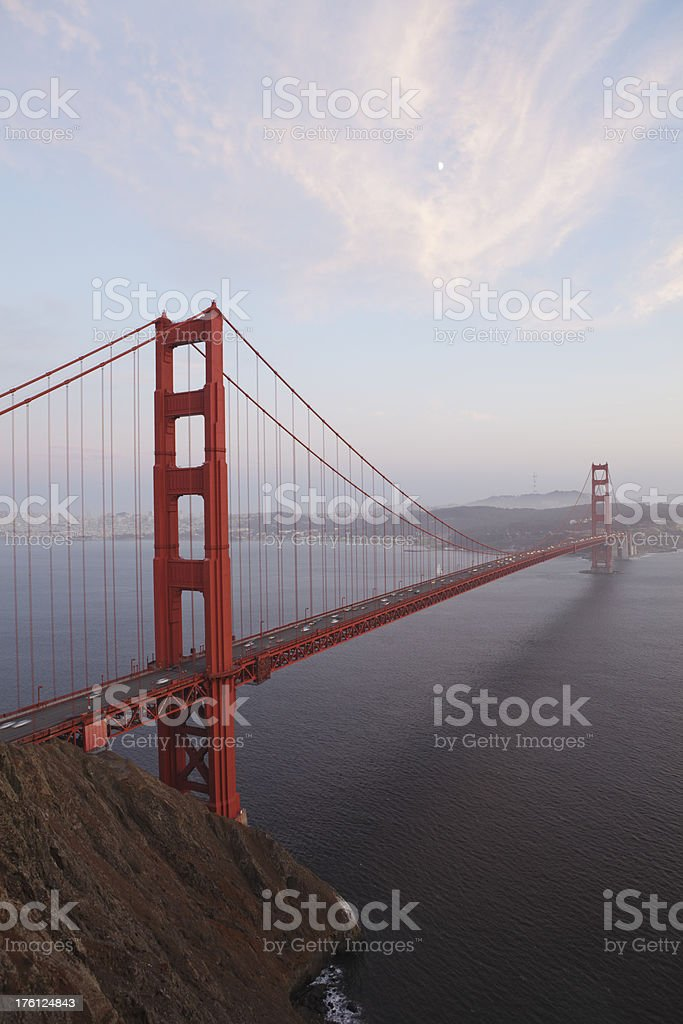 The Golden Gate Bridge, few minutes past sunset, hazy day royalty-free stock photo