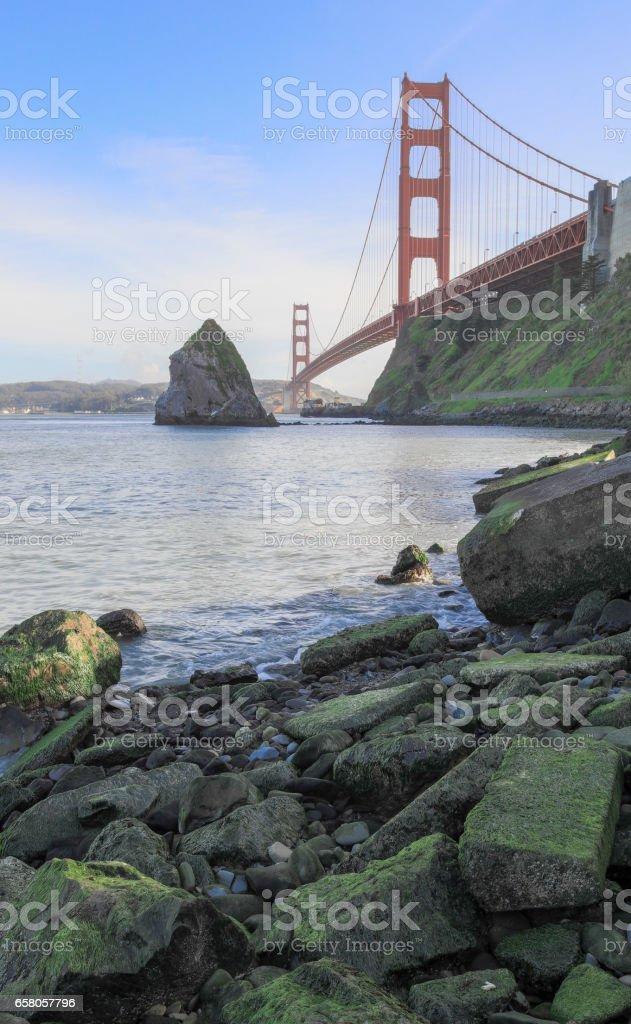 The Golden Gate Bridge from Fort Baker. stock photo