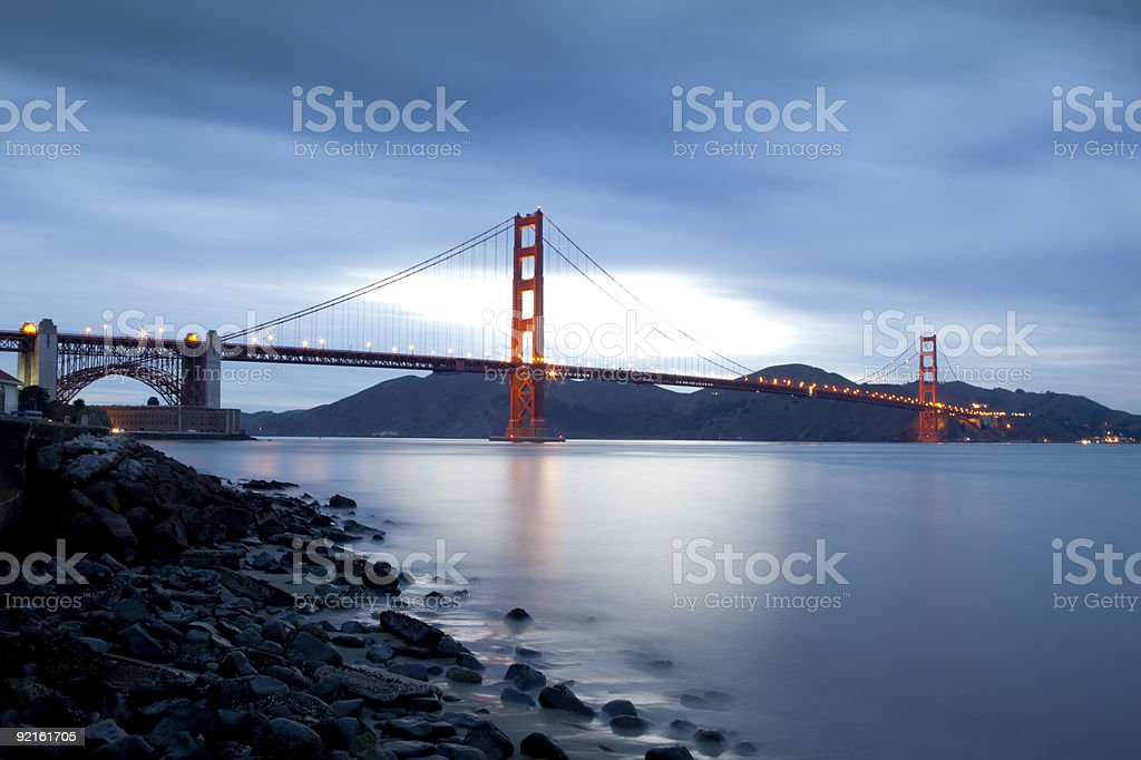 The Golden Gate Bridge in San Francisco, seen at night royalty-free stock photo