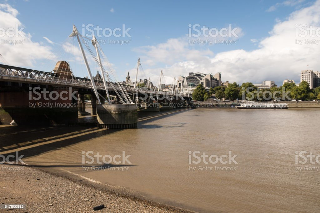 The Golden Jubilee Bridge in London stock photo