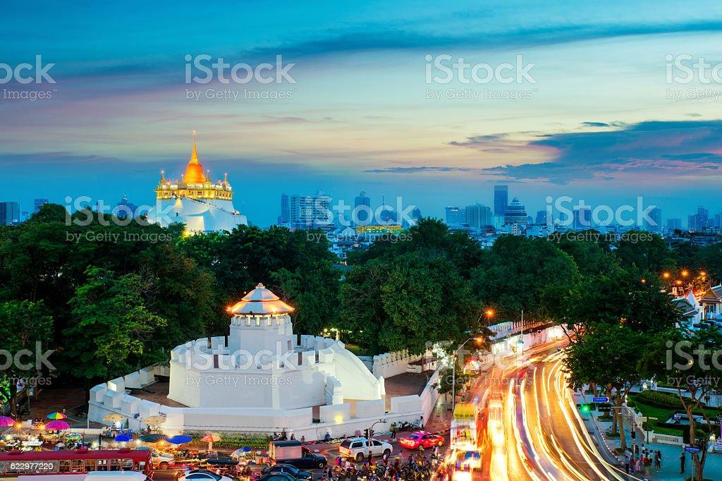 The Golden Mountain and Pom Maha Kan in Bangkok ,Thailand stock photo