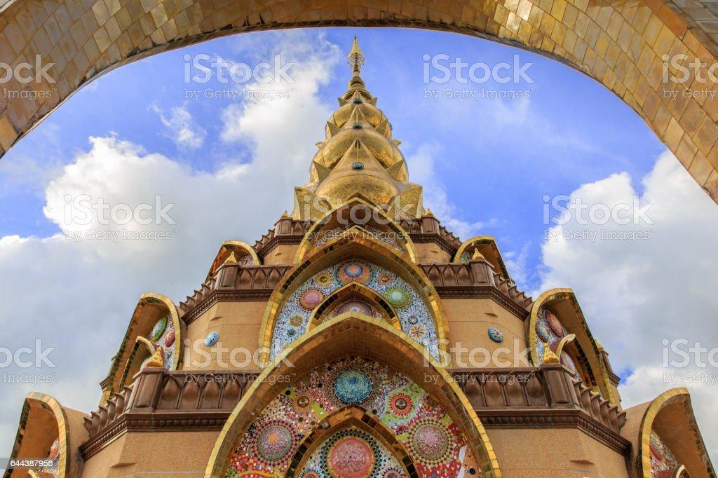 The golden pagoda in Wat Phra That Pha Son Kaew Temple at Phetchabun, Thailand. stock photo