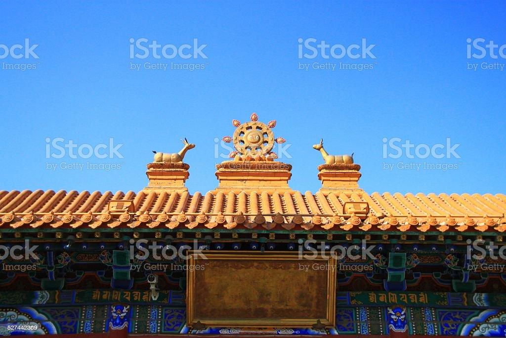 The golden statuary roof in Hohhot, Inner Mongolia stock photo