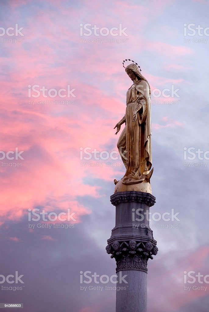 The golden statue of the Virgin Mary, Zagreb Cathedral, Croatia stock photo