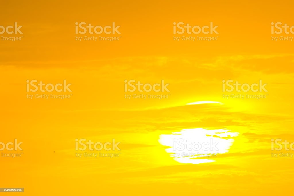 The golden sun in the morning of a new day on the sea in the Gulf of Thailandth stock photo
