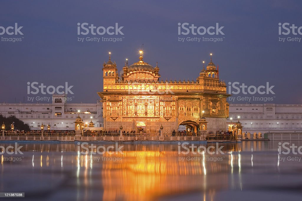 The Golden Temple At Night stock photo