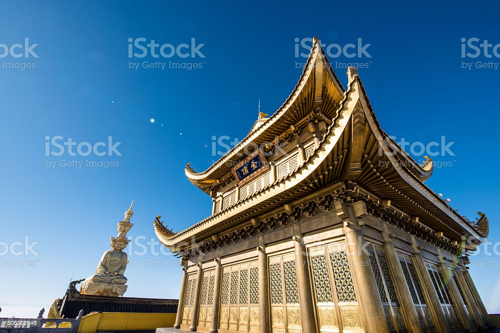 the golden temple at the top of the Emei Mountain stock photo