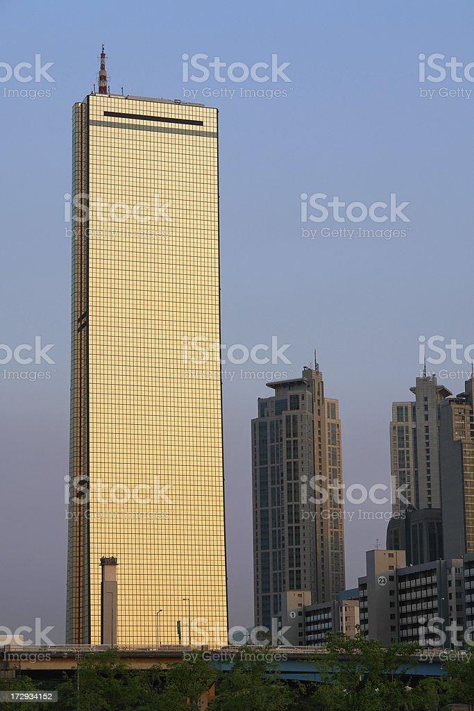 The Golden Tower Skyscraper 63 in Seoul stock photo