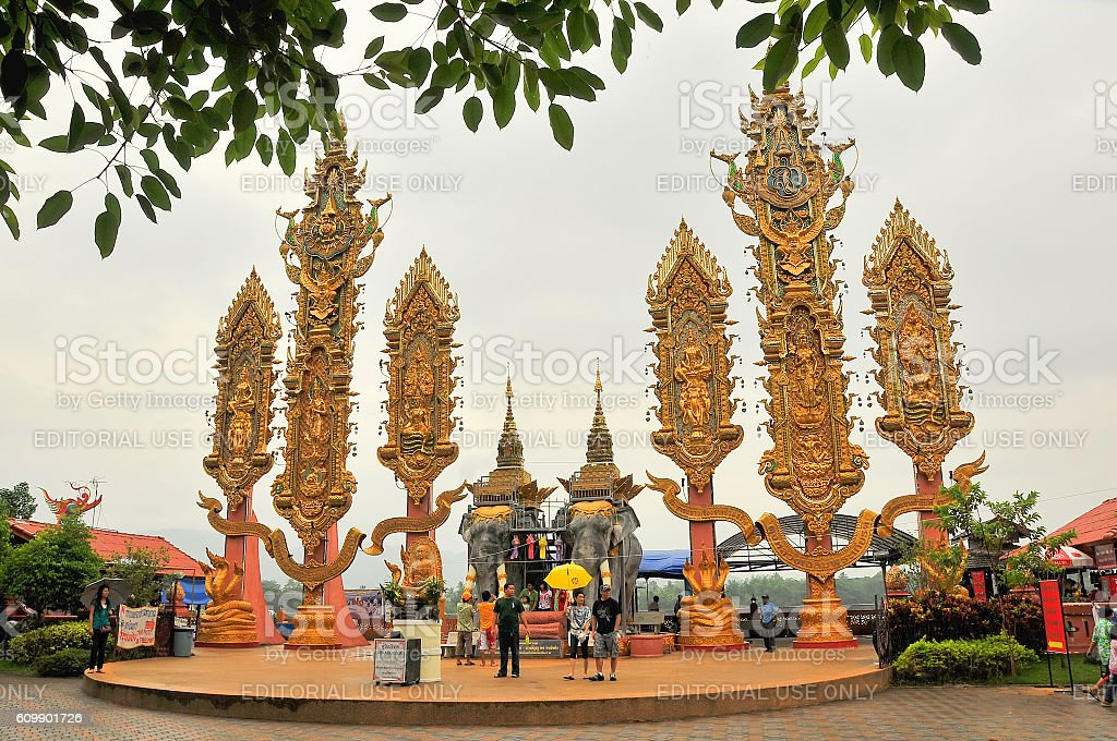 The Golden Triangle, borders three countries - Thailand, Myanmar, Laos. stock photo