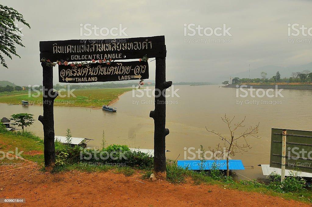The Golden Triangle, borders three countries - Thailand, Myanmar, Laos. stock photo