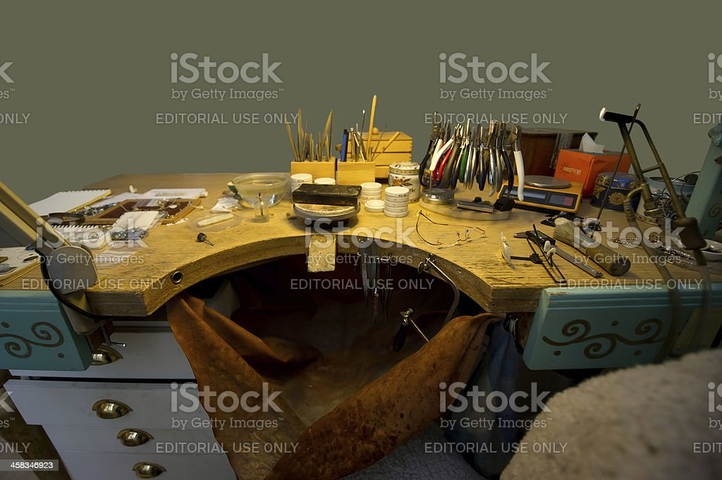 The Goldsmith's working place royalty-free stock photo
