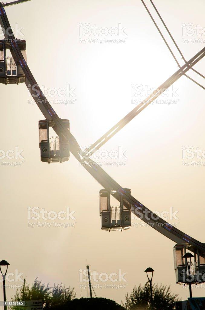 The gondolas of a giant wheel stock photo