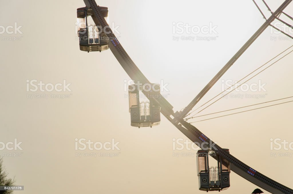 The gondolas of a panoramic wheel stock photo