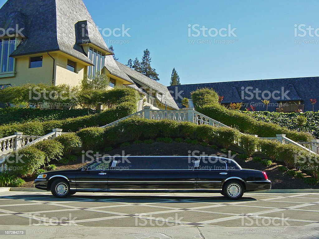 The Good Life: Limousine & Mansion stock photo