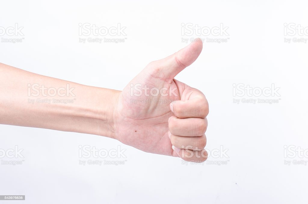 the good/like sign hand on white background stock photo
