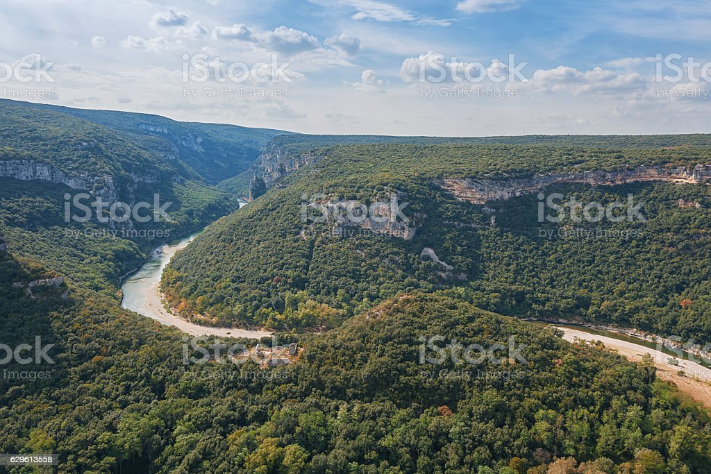 The Gorges of the river Ardeche in France stock photo
