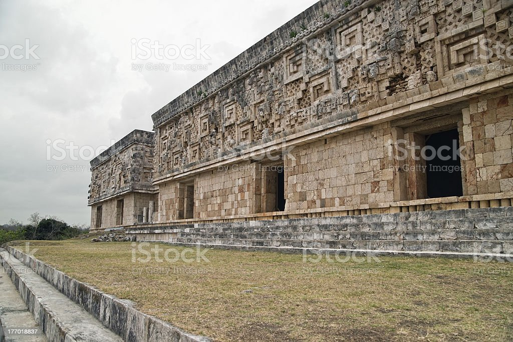 The Governor's Palace at Uxmal, Mexico royalty-free stock photo