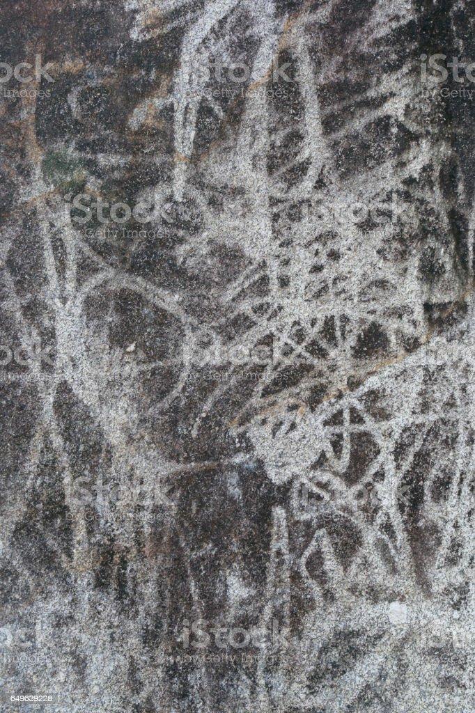 The graffiti on the rocks stock photo