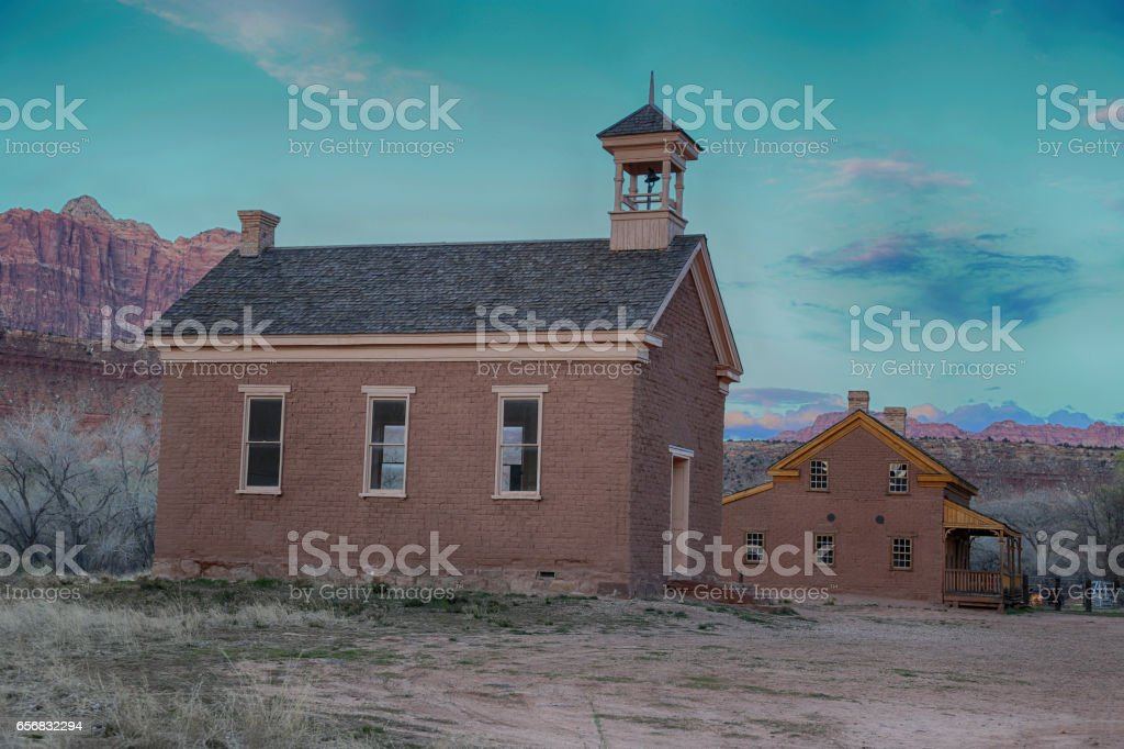 The Grafton schoolhouse and church with the Alonzo Russell Home in back stock photo