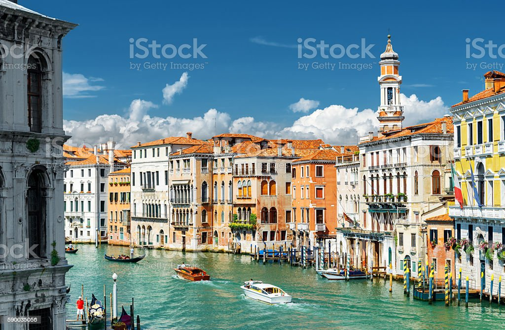 The Grand Canal and colorful facades of old houses, Venice stock photo