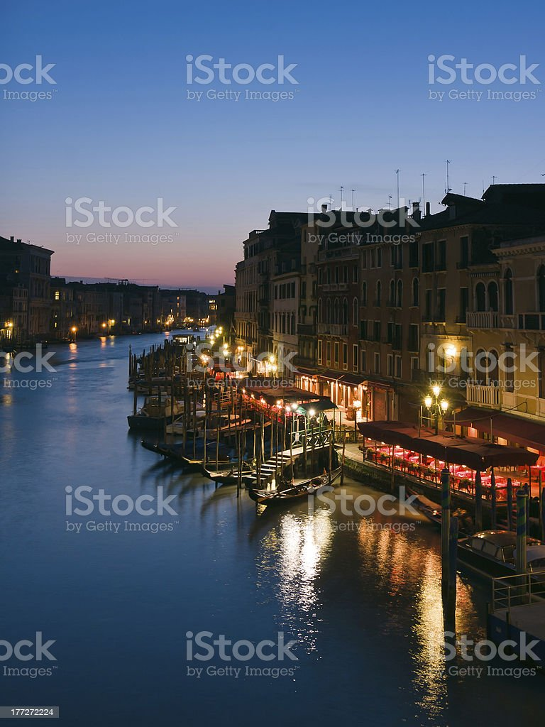 The Grand Canal at dusk in Venice royalty-free stock photo