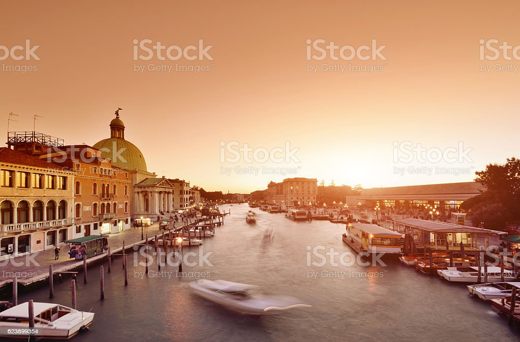 The Grand Canal at Sunset, Venice, Italy stock photo