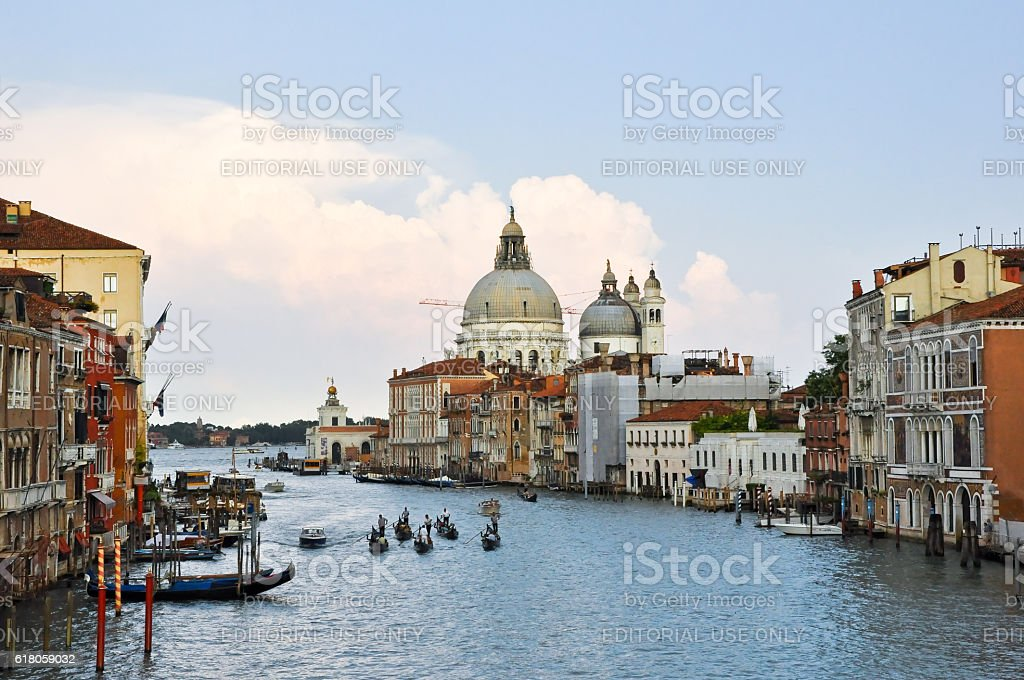 The Grand Canal during the evening in Venice. stock photo