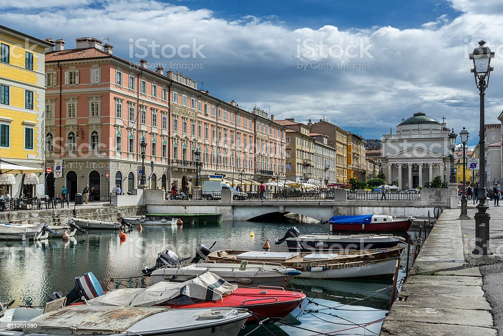 The Grand Canal in Trieste stock photo