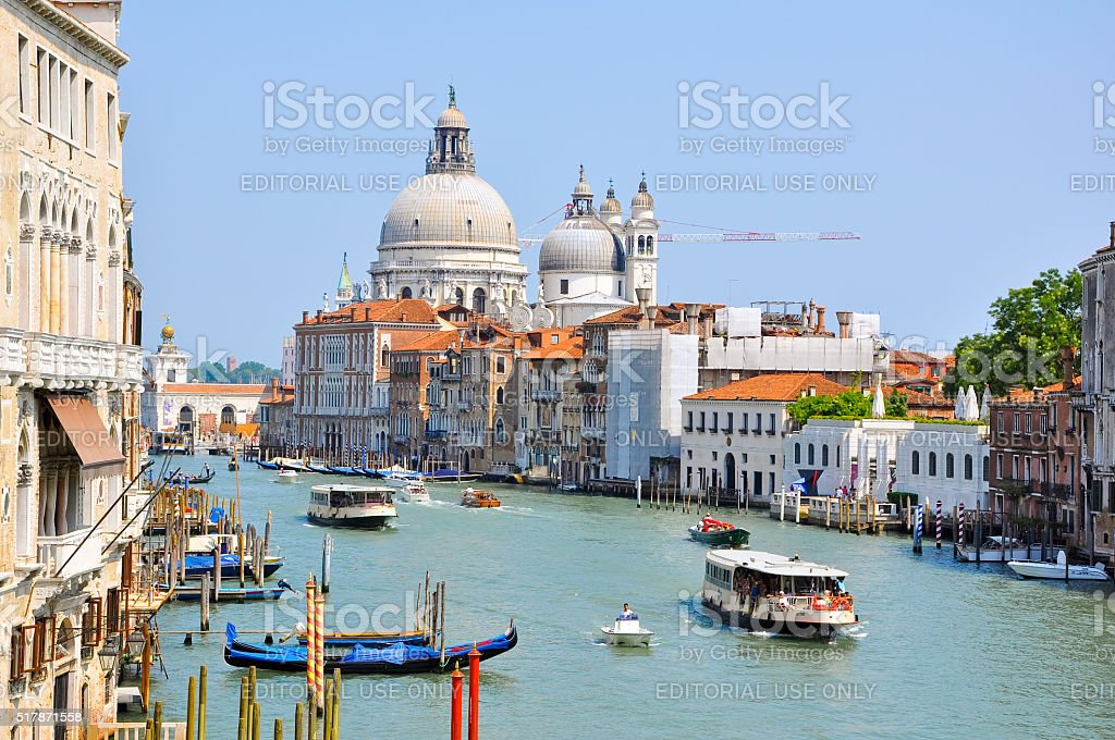 The Grand Canal in Venice, traffic on the canal, Venice. stock photo