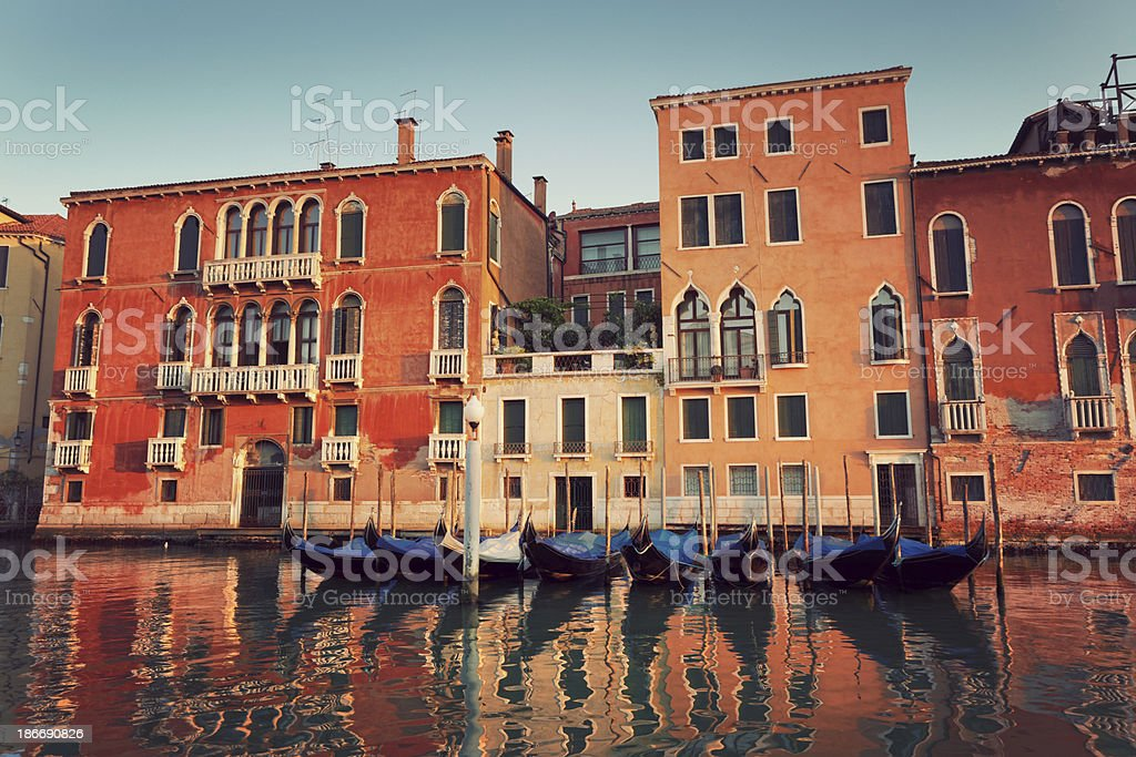 the Grand Canal in Venice with docked gondolas royalty-free stock photo